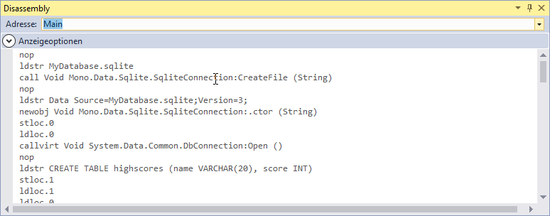Disassembly in Visual Studio with MDebug Mono remote debugging