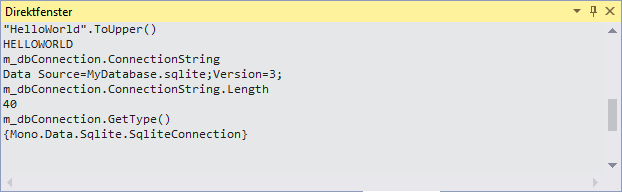 Intermediate Window in Visual Studio with MDebug Mono remote debugging