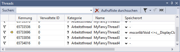 Threads in Visual Studio with MDebug Mono remote debugging