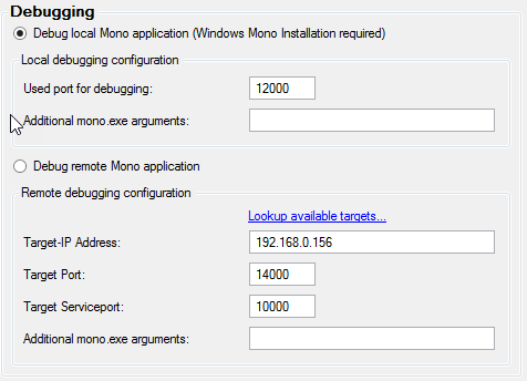 Configure MDebug in Visual Studio with MDebug Mono remote debugging